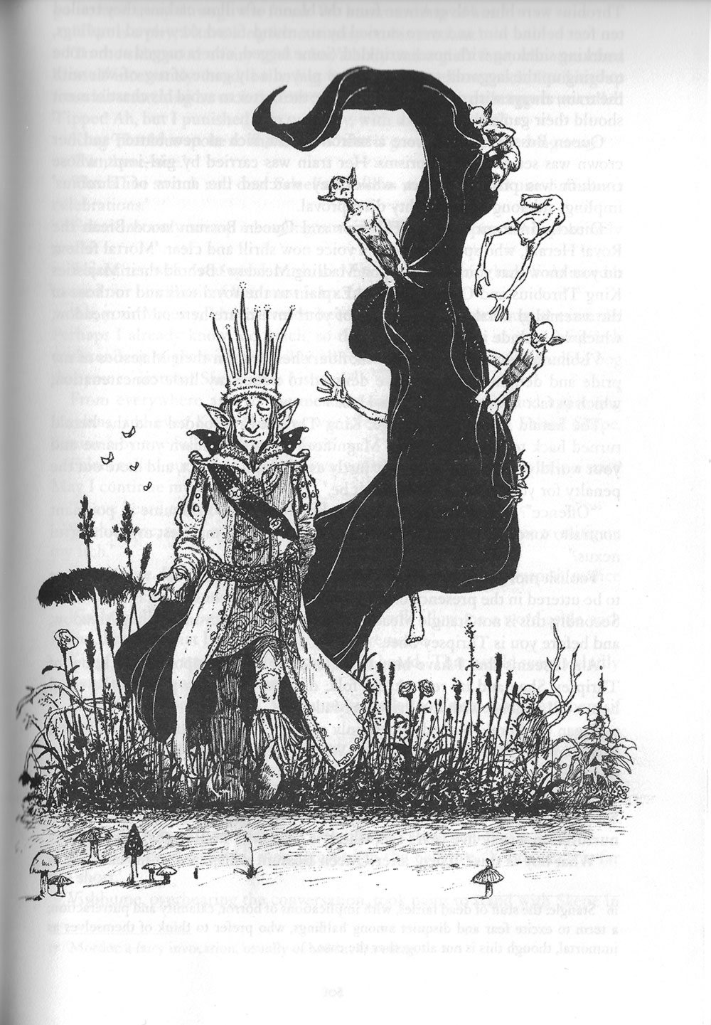 King Throbius of Thripsey Shee, illustration by Les Edwards.