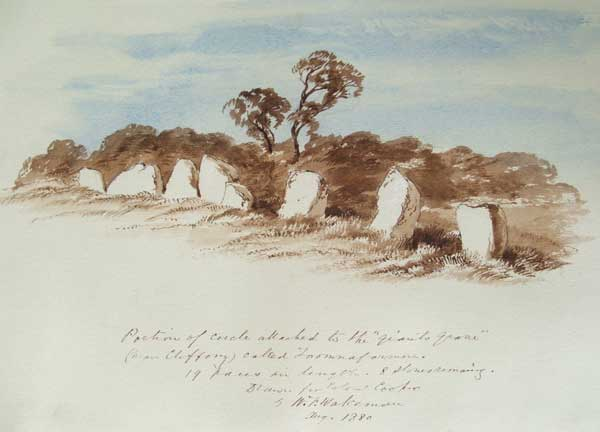 William Wakeman's 1880 watercolour of the megalith in Cartronplank called Toomnafoirmoire.